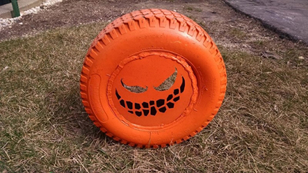 Scary Pumpkin Tire Decoration